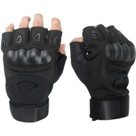 Перчатки беспалые с карбоновым кастетом черные