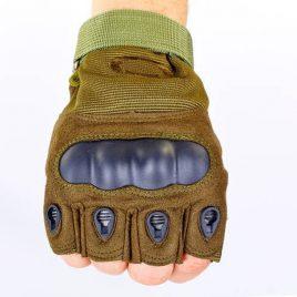 Перчатки беспалые с карбоновым кастетом «Олива»